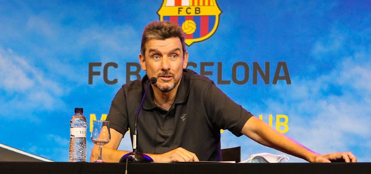 Juan Carlos Unzué, en rueda de prensa (Foto. FC Barcelona)