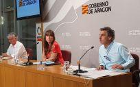 Rueda de prensa de responsables de la Consejería de Sanidad de Aragón, con la consejera Sira Repollés en el centro (Foto: @GobAragon)