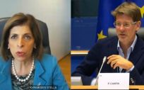 Videoconferencia entre Stella Kyriakides, comisaria de Salud de la UE, y Pascal Canfin, presidente de la Comisión de Salud del Parlamento Europeo (Foto: @SKyriakidesEU)