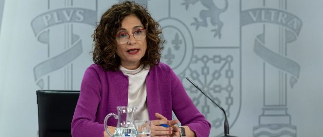 María Jesús Montero, portavoz del Gobierno, en rueda de prensa tras el Consejo de Ministros (Foto: Pool Moncloa / Borja Puig de la Bellacasa)