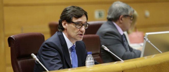 El ministro de Sanidad, Salvador Illa, durante su intervención en el Senado (Foto: @gpssenado)