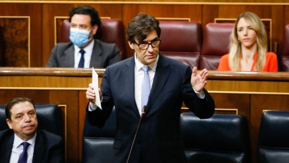 El ministro de Sanidad, Salvador Illa, durante la sesión de control en el Congreso de los Diputados (Foto: Congreso)