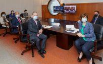 Delegación del Gobierno del País Vasco con la consejera de Salud Nekane Murga en primer término (Foto: Gobierno vasco)