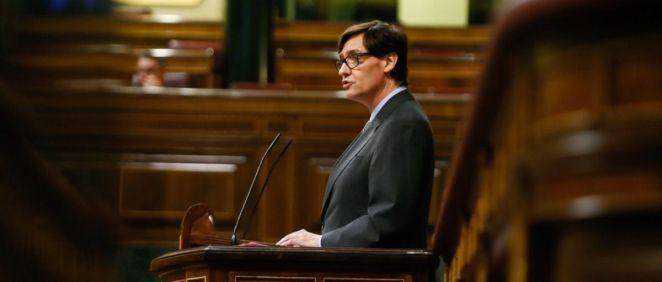 El ministro de Sanidad, Salvador Illa, comparece en el Congreso de los Diputados (Foto: Congreso)