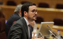 Alberto Garzón en la comparecencia del Senado (Foto. ConSalud)