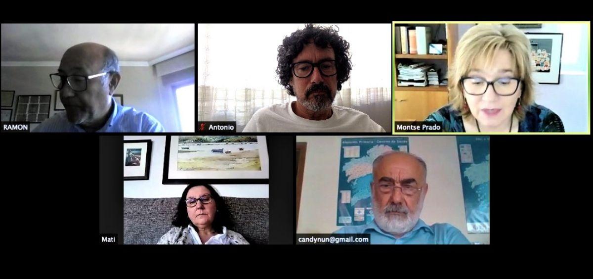 Videoconferencia entre los representantes de CESM Galicia y la portavoz de Sanidad del BNG en el Parlamento de Galicia, Montse Prado. (Foto. CESM)