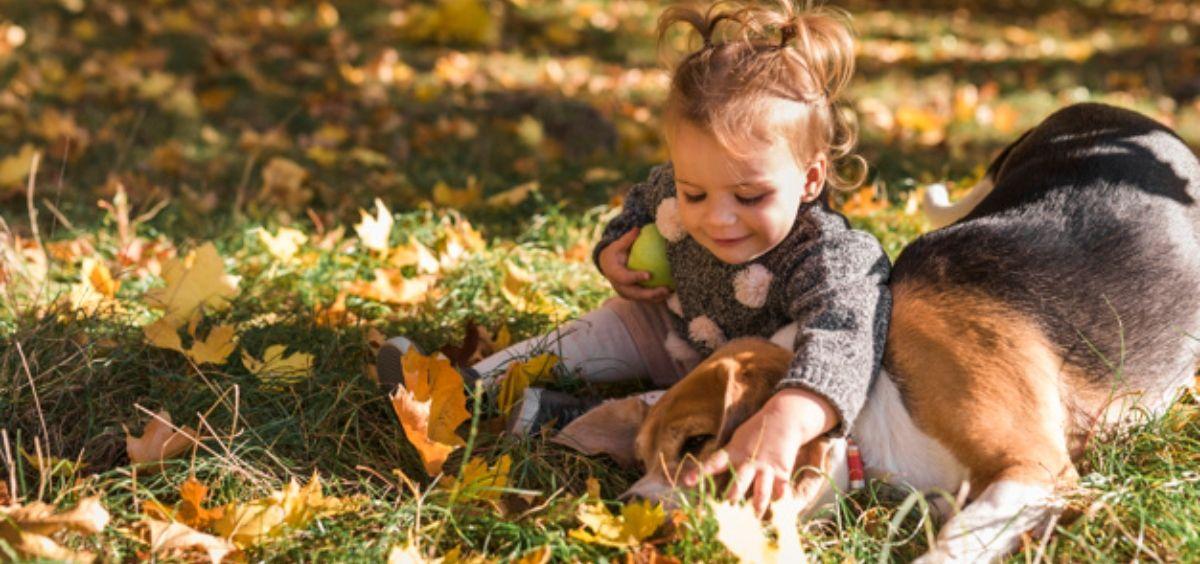 Niña jugando con su perro en el parque (Foto. Freepik)