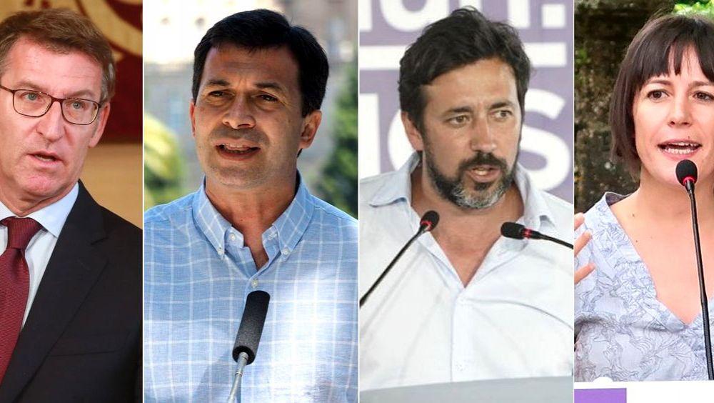 De izq. a der.: Alberto Núñez Feijóo (PP), Gonzalo Caballero (PSdeG-PSOE), Antón Gómez Reino (Galicia en Común) y Ana Pontón (BNG). (Fotomontaje ConSalud)