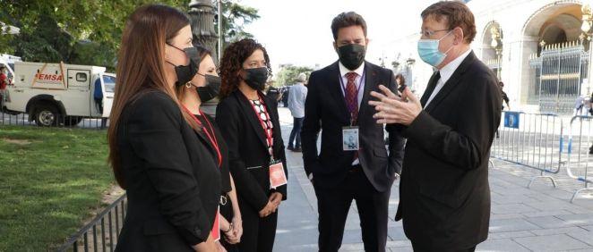 El president de la Generalitat, Ximo Puig, en el acto de homenaje a las víctimas de la Covid 19 (Foto .EP)