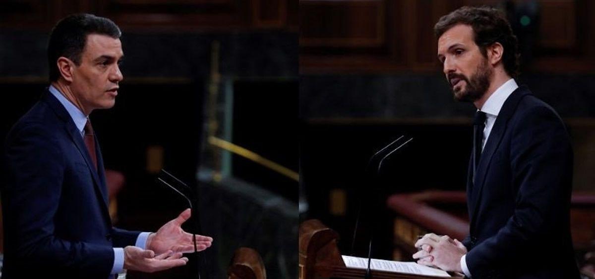 Montaje fotográfico del presidente del Gobierno, Pedro Sánchez, y del líder del PP, Pablo Casado, en el Congreso   POOL