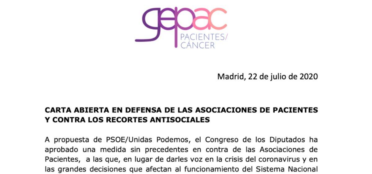 Carta de GEPAC al Gobierno.