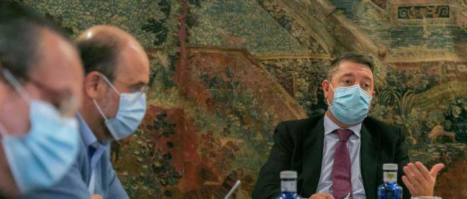 Emiliano García Page, presidente de Castilla-La Mancha, en el Consejo extraordinario de Gobierno (Foto. JCCM)