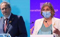 El presidente de la Generalitat de Cataluña, Quim Torra; y la consejera de Salud, Alba Vergés.
