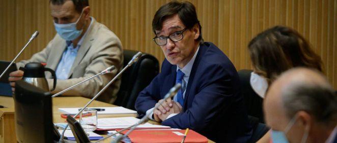 EL ministro de Sanidad, Salvador Illa, interviniendo en la Comisión de Sanidad en el Congreso de los Diputados (Foto. Congreso de los Diputados)