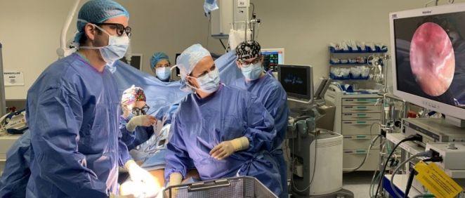 Imagen de un momento de la intervención llevada a cabo con la nueva técnica de extracción endoscópica de injertos (Foto. EP)