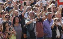 Manifestación en contra de las mascarillas frente a la Covid (Foto. EP)