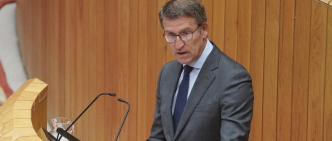 Alberto Núñez Feijóo durante su intervención en el Parlamento de Galicia. (Foto. @FeijooGalicia)