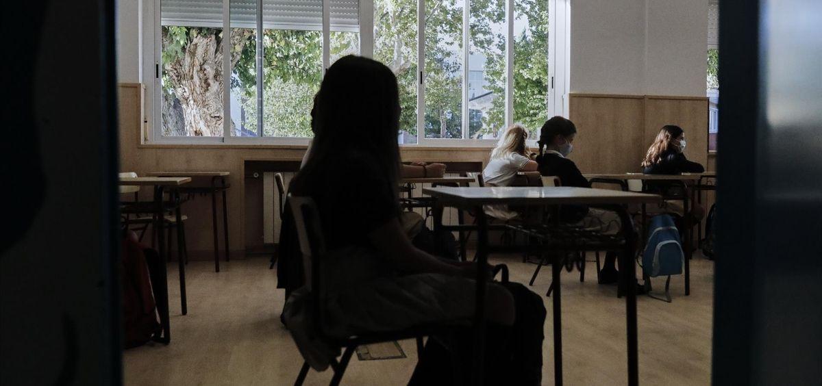 Niños en un aula del Colegio Privado Alameda de Osuna en el primer día del curso escolar 2020 2021. (Foto. Jesús Hellín / EP)