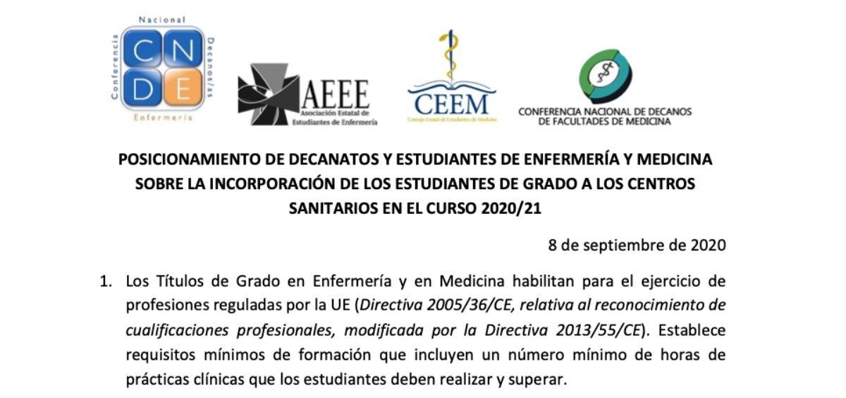 Posicionamiento de la CNDE, la AEEE, la CEEM y la CNDFM. (Foto. ConSalud)