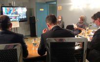 El ministro de Sanidad, Salvador Illa, junto a su equipo en la reunión telemática del Consejo Interterritorial. (Foto. @Sanidadgob)