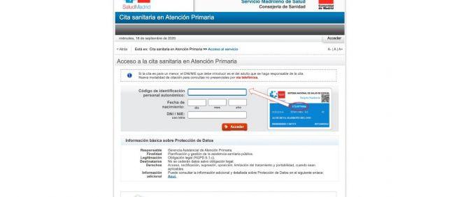 Portal de cita sanitaria en Atención Primaria de la Comunidad de Madrid.