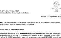 Carta enviada al ministro de Sanidad, Salvador Illa, por la Asociación MIR España (AME).