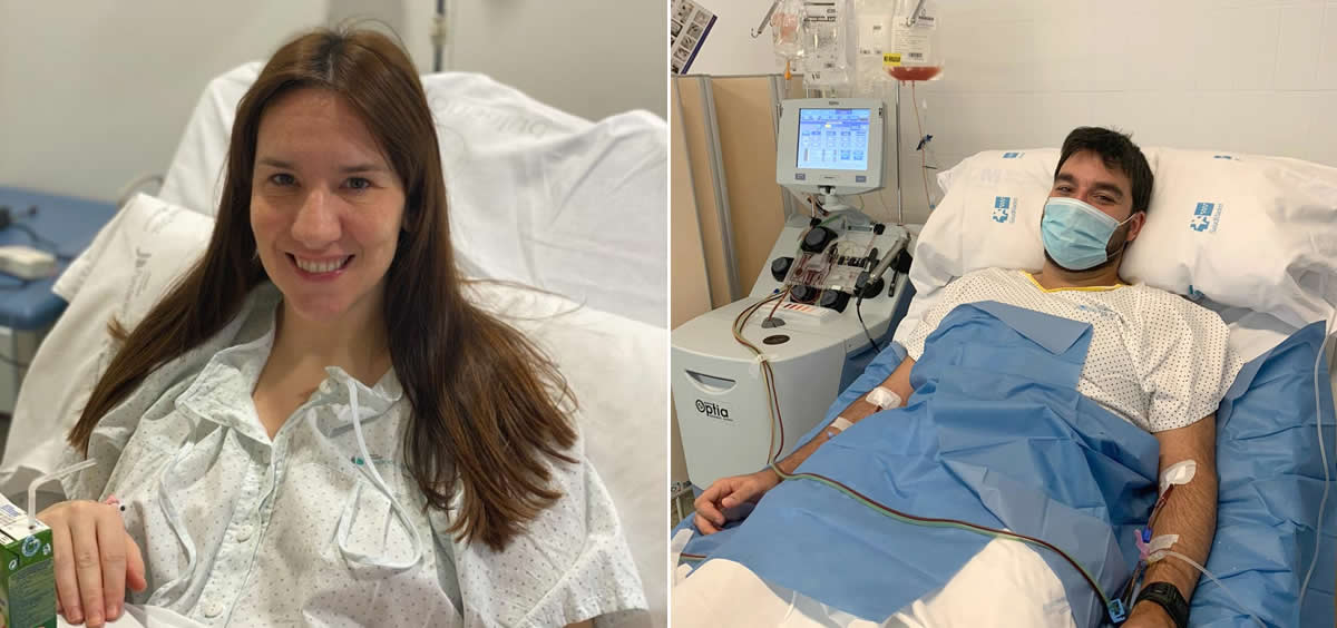 Isabel Gutiérrez, donante de médula ósea a través de punción, y David Sánchez, donante que efectuó el proceso a través de sangre periférica (Foto: Centro de Transfusión)