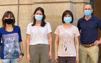 Los investigadores Ujué Fresán, Cristina Burgui, Marcela Guevara, y Jesús Castilla (Foto. Ciberesp)