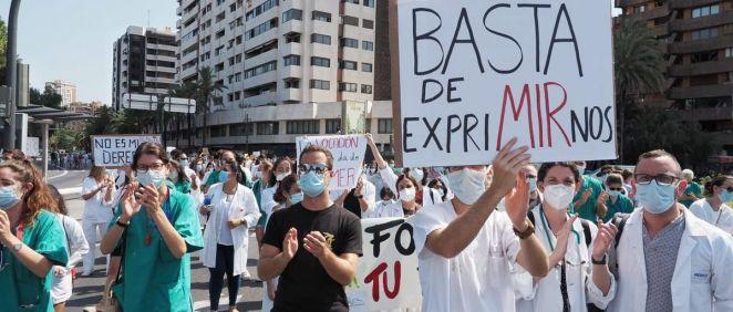 Manifestación de los MIR de la Comunidad Valenciana. (Foto. @HuelgaMIRCV)