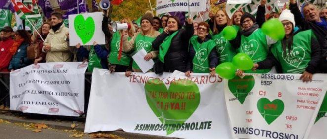 Protesta de los técnicos en Cuidados de Enfermería. (Foto. Plataforma Nacional de Técnicos Sanitarios)