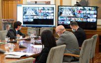 Representantes del Ministerio de Sanidad durante el Consejo Interterritorial celebrado por videoconferencia (Foto: Pool Moncloa / Borja Puig de la Bellacasa)