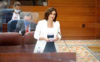 Isabel Díaz Ayuso, presidenta de la Comunidad de Madrid interviniendo en la Asamblea regional (Foto: CAM)