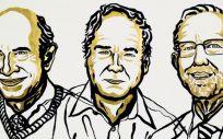 Los científicos Harvey J. Alter, Michael Houghton y Charles M. Rice, premiados con el Nobel de Medicina 2020 (Ilustración: Niklas Elhemed)