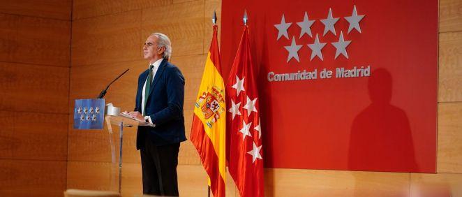 Enrique Ruiz Escudero, consejero de Sanidad, comparece en rueda de prensa (Foto: Comunidad de Madrid)