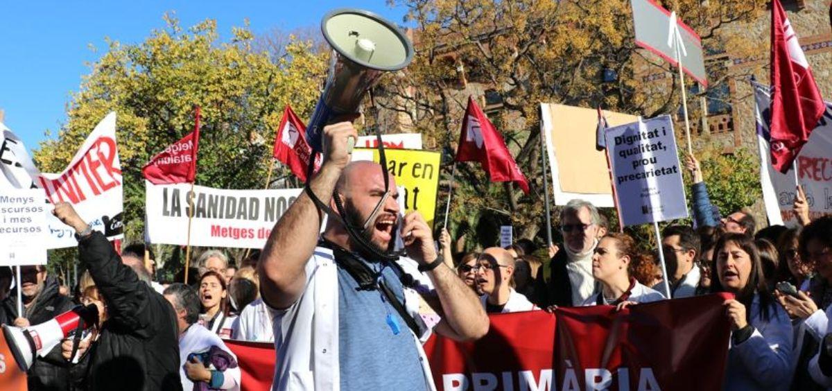 Protestas de los médicos de Atención Primaria en Cataluña. (Foto. MC)
