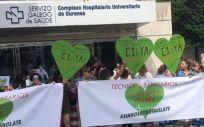 Protesta de los técnicos sanitarios en el Complejo Hospitalario Universitario de Ourense (CHOU). (Foto. SR)