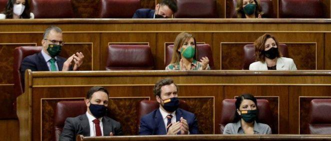 Diputados de Vox durante el debate de la moción de censura (Foto: Congreso)