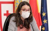 Mónica Oltra con mascarilla en rueda de prensa (Foto. GVA   Archivo)