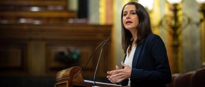 Inés Arrimadas, líder de Ciudadanos, interviniendo en el Congreso de los Diputados (Foto: Flickr Ciudadanos)