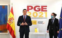 Sánchez e Iglesias durante la presentación de los PGE 2021. (Foto. Pool Moncloa Borja Puig de la Bellacasa)