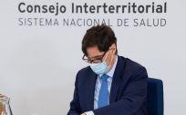 El ministro de Sanidad, Salvador Illa, durante el Consejo Interterritorial de Salud. (Foto. Moncloa)