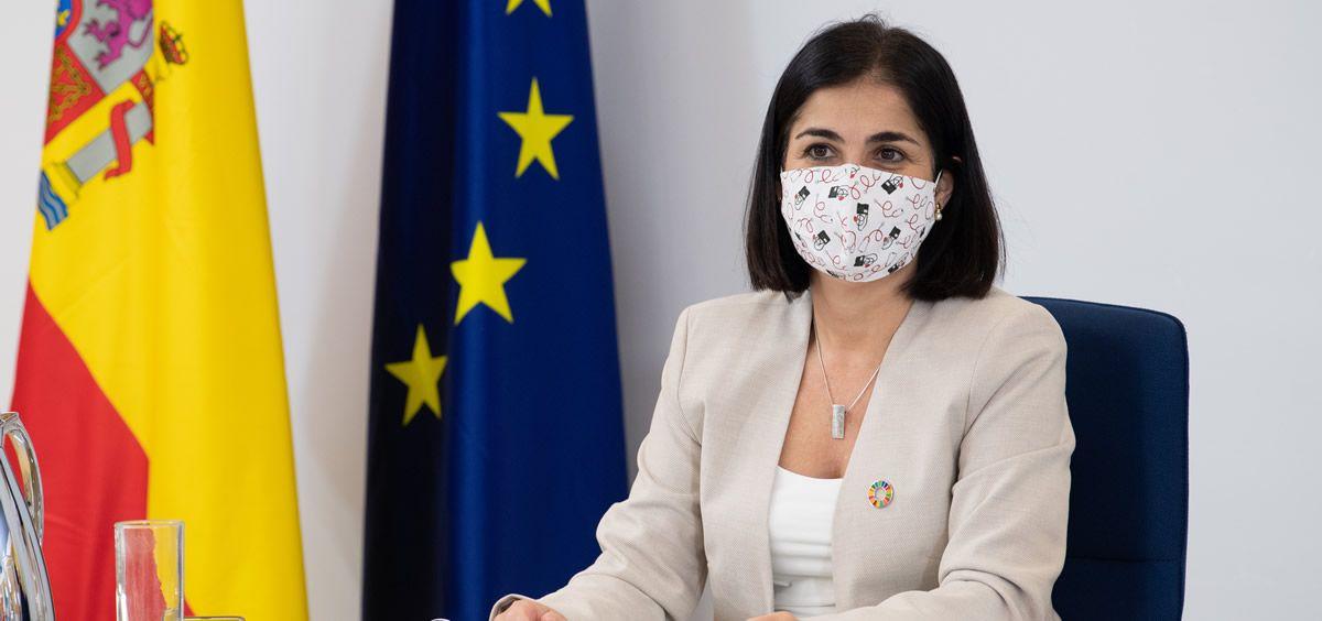 Carolina Darias, ministra de Politica Territorial y Función Pública, en el Consejo Interterritorial de Salud.