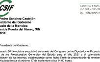 Imagen de la carta enviada por CSIF a Pedro Sánchez. (Foto. CSIF)