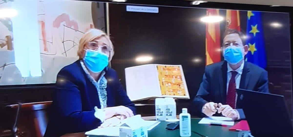 Reunión telemática mantenida entre Ximo Puig y Ana Barceló con los 24 gerentes de los departamentos públicos de salud de la Comunidad