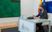 Pedro Sánchez participa en el Consejo Europeo telemático centrado en la evolución de la pandemia (Foto. Moncloa)