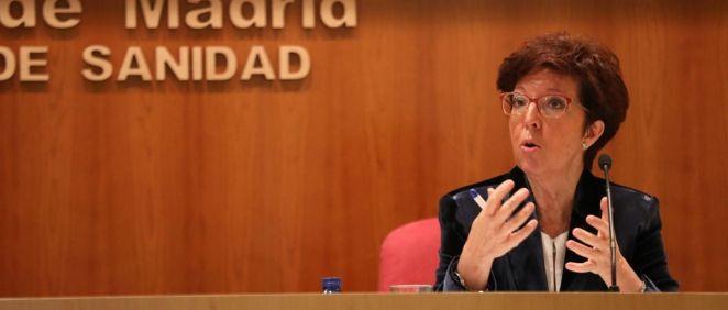 La directora general de Salud Pública, Elena Andradas, interviene durante una rueda de prensa en la Consejería de Sanidad (Foto. EUROPA PRESS M.FERNÁNDEZ. POOL   Europa Press)