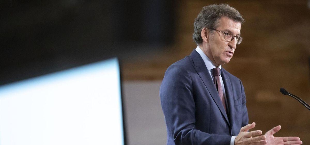 El presidente de la Xunta, Alberto Núñez Feijóo, en la rueda de prensa posterior a la reunión del Consello. (Foto.  ANA VARELA XUNTA)