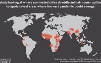 Mapa ilustrativo de la zona de alerta roja. Los círculos representan la ubicación aproximada del riesgo; el tamaño del círculo indica el nivel de riesgo. (Foto. MICHAEL WALSH, UNIVERSITY OF SYDNEY)