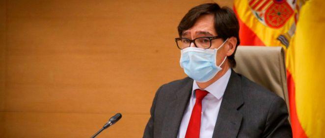 Salvador Illa, ministro de Sanidad, interviniendo en la Comisión de Sanidad del Congreso de los Diputados (Foto: Congreso)