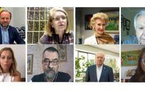 Íñigo Lapetra, Sonia López, Pilar Fernández, Miguel Ángel Alcántara. Abajo, Begoña Reyero, José Antonio Forcada, Florentino Pérez Raya y Olga de Vicente (Foto. CGE)